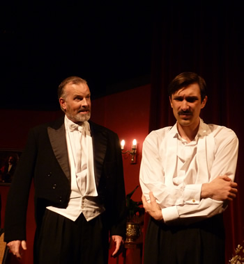 Arthur Birling (Richard Neal) and Eric Birling (David Beddard)