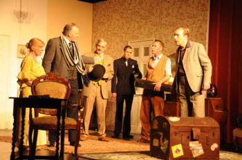 Mrs Wilberforce (Sheila Dove), Professor Marcus (Richard Neal), Major Courtney (Simon Jackson), Louis (John Sivewright), Harry (Sam Moulton) and One-Round (Tony Parkinson)