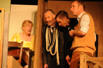 Mrs Wilberforce (Sheila Dove), Professor Marcus (Richard Neal), Louis (John Sivewright) and Harry (Sam Moulton)