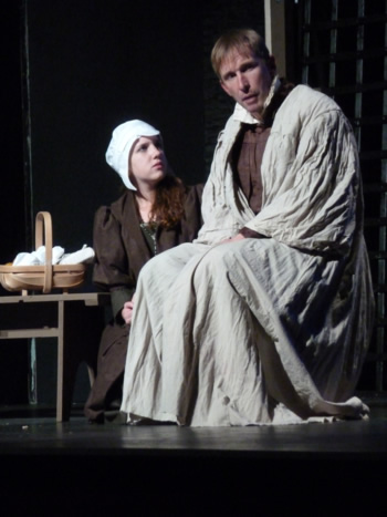 Claire Hutton (Lady Margaret More) and Sam Moulton (Sir Thomas More)