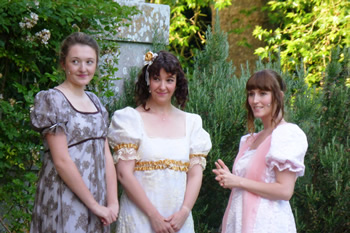 Bethany Barfoot as Mary Bennet, Tracey Nicholls (Elizabeth Bennet) and Kristy Dixon (Charlotte Lucas)