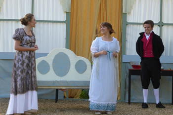 Bethany Barfoot (Mary Bennet), Claire Hutton (Lydia Bennet) and Calum Hearne (Captain Denny)