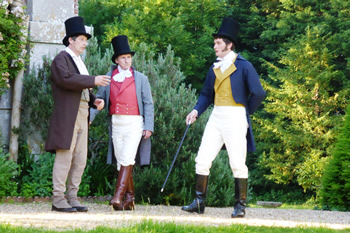 Gary Paine as Mr Bennet, Colin Pile (Mr Bingley) and Rob Cording (Mr Darcy)