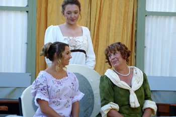 Kimberley Scott (Jane Bennet), Bethany Barfoot (Mary Bennet) and Chrissie Neal (Mrs Bennet)