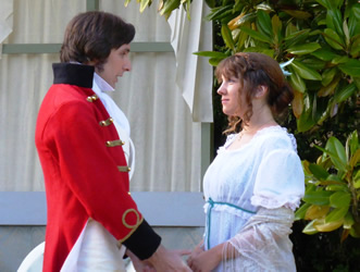 David Beddard (Mr Wickham) and Claire Hutton (Lydia Bennet)